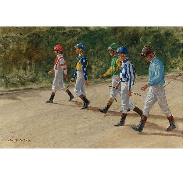 Henry Koehler , American b. 1927 The 1973 Belmont Jockeys oil on canvas
