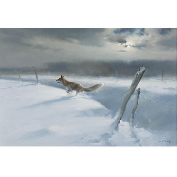 Manfred Schatz , German 1925-2004 Hunting Fox - The Endless Search oil on canvas