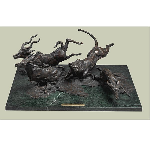 Jonathan Kenworthy , British b. 1943 Leopard and Three Lesser Kudus bronze, brown patina