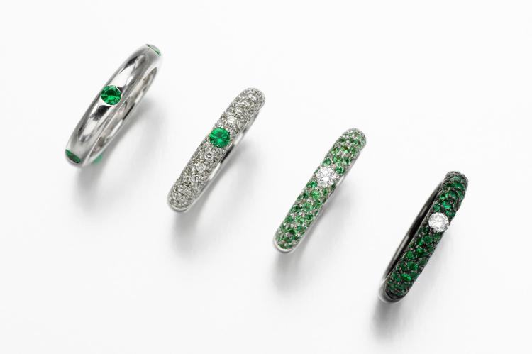 GROUP OF TSAVORITE GARNET AND DIAMOND RINGS, ADOLFO COURRIER