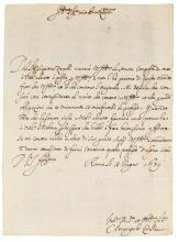 A. CORELLI. FINE AND IMPORTANT LETTER ABOUT HIS EARLIEST SONATA FOR VIOLIN AND BASS, 1679