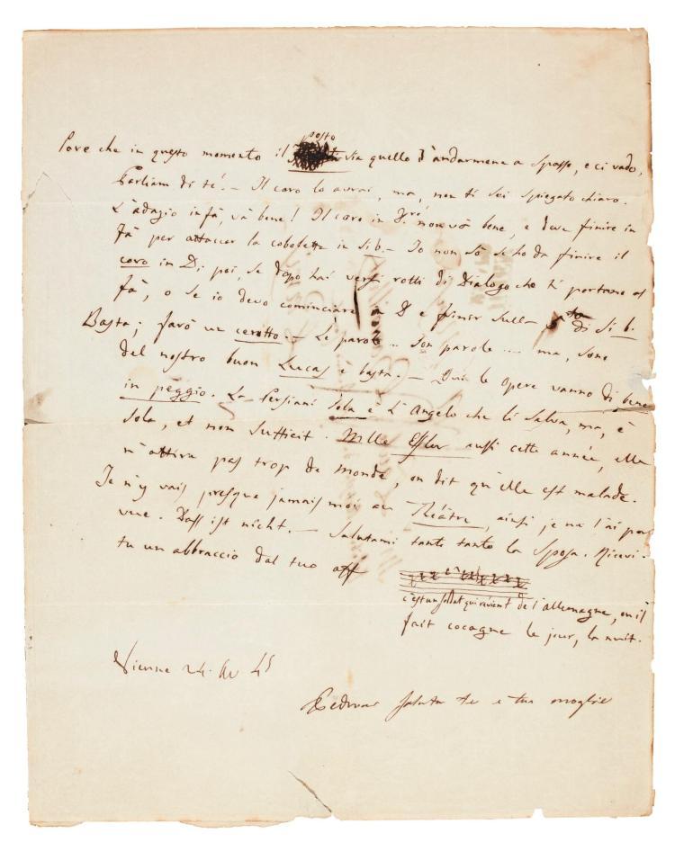 G. DONIZETTI, LENGTHY AUTOGRAPH LETTER ABOUT THE PARIS OPÉRA, TO THE SINGER PAUL BARROILHET, 1845