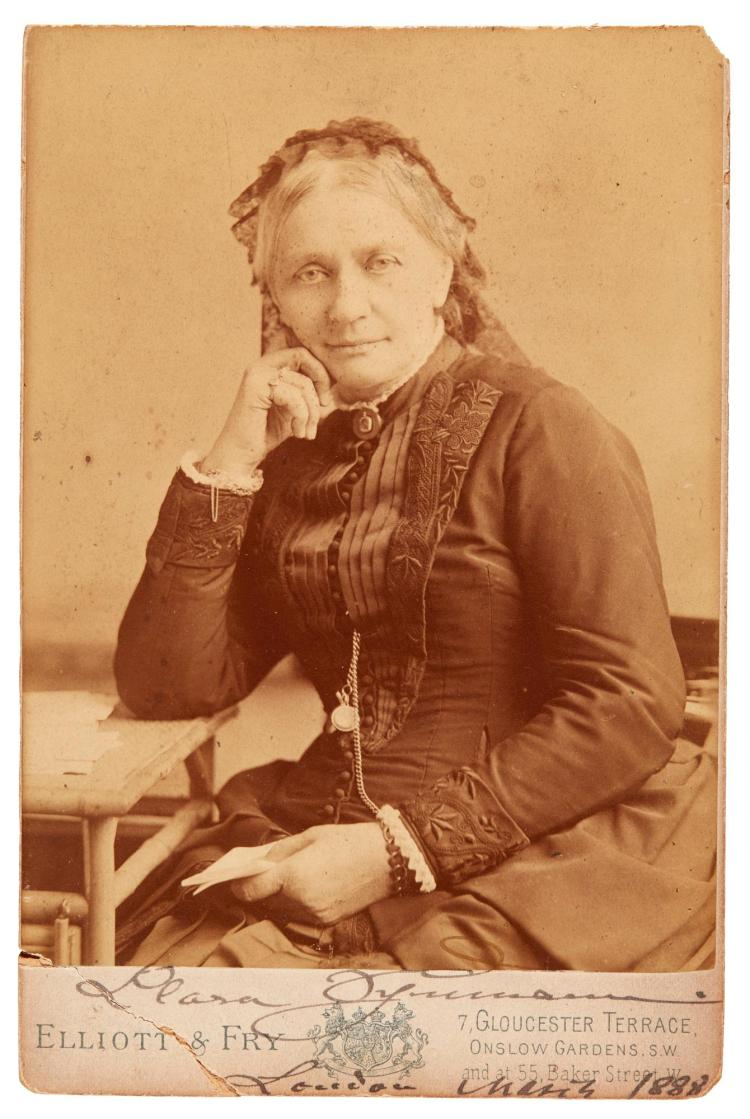 CLARA SCHUMANN. CABINET-STYLE PHOTOGRAPH AND FIVE LETTERS SIGNED, TO SOPHIE HORSLEY, 1886-1893