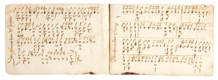 MID SIXTEENTH-CENTURY MANUSCRIPT OF GERMAN LUTE TABLATURE, COMPRISING 35 PIECES, MANY UNRECORDED, C.1535-1565