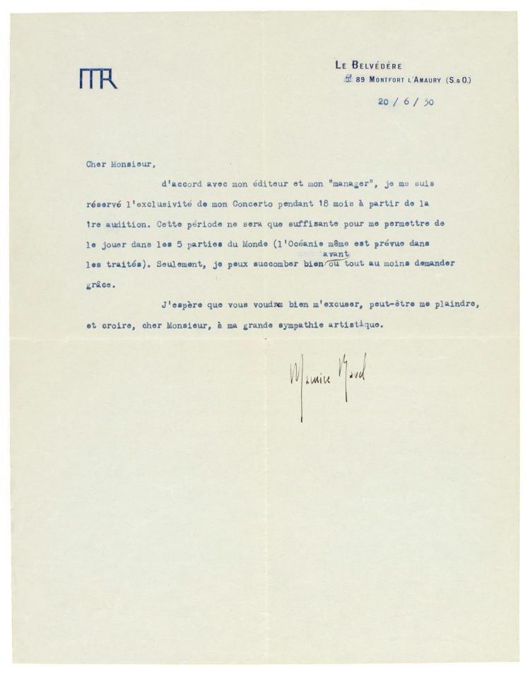 M. RAVEL, TYPED LETTER SIGNED ABOUT THE PIANO CONCERTO IN G, TO THE PIANIST FRANZ OSBORN, 1930