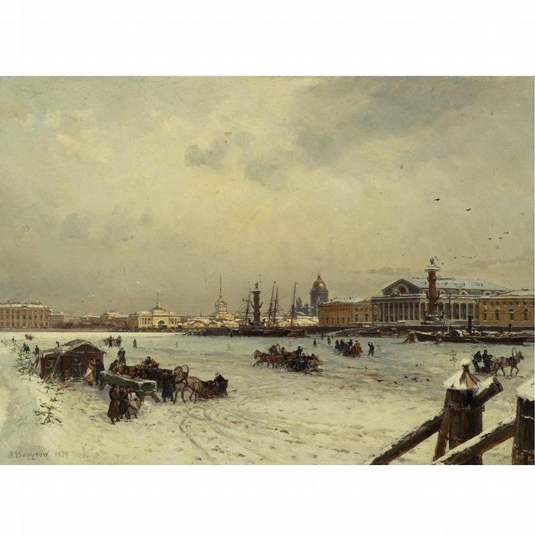 ALEKSANDR KARLOVICH BEGGROV RUSSIAN, 1841-1914 VIEW OF ST. PETERSBURG IN WINTER, WITH THE CUPPOLA