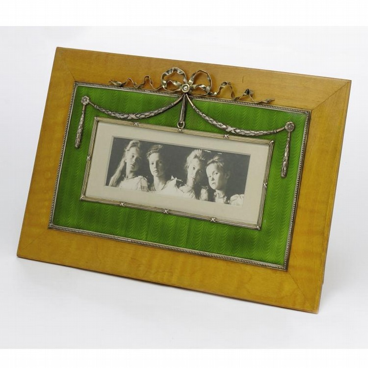 A FABERGÉ SILVER AND TRANSLUCENT ENAMEL PHOTOGRAPH FRAME, WORKMASTER JOHAN VICTOR AARNE, ST.