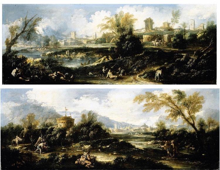ANTONIO FRANCESCO PERUZZINI ANCONA CIRCA 1646 - 1724 MILAN A CAPRICCIO LANDSCAPE WITH A TOWER,
