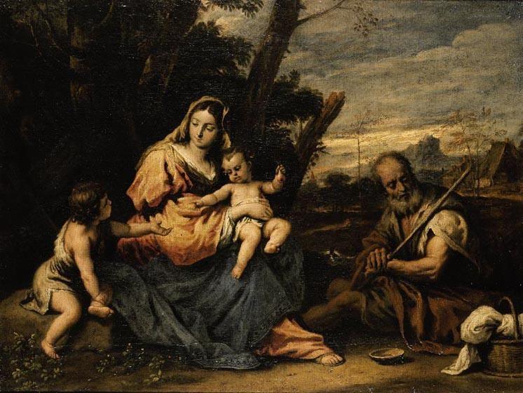 SEBASTIANO RICCI BELLUNO 1659 - 1734 VENICE THE HOLY FAMILY WITH THE INFANT SAINT JOHN THE BAPTIST