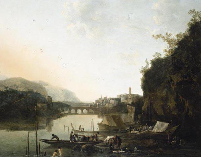 ADAM PYNACKER SCHIEDAM NEAR ROTTERDAM 1620 (?) - 1673 AMSTERDAM AN ITALIANATE RIVER LANDSCAPE WITH