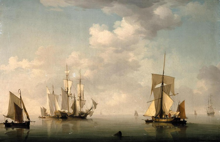 CHARLES BROOKING 1723-1759 SHIPPING IN A CALM
