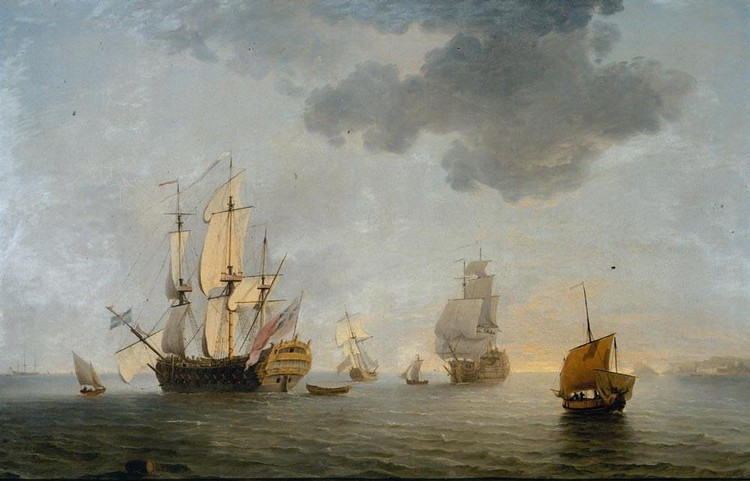 CHARLES BROOKING 1723-1759 A BRITISH MAN OF WAR AND OTHER SHIPPING OFF THE COAST