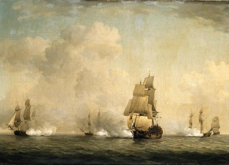 CHARLES BROOKING 1723-1759 THE CAPTURE OF A FRENCH SHIP BY ROYAL FAMILY PRIVATEERS