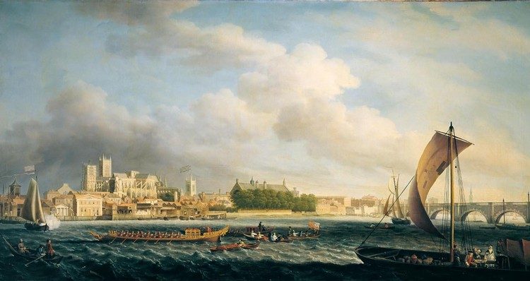 SAMUEL SCOTT C.1702-1772 THE THAMES AT WESTMINSTER BRIDGE WITH BARGES