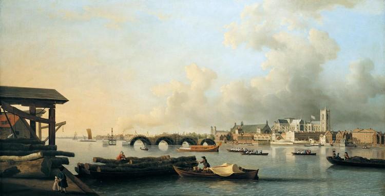 SAMUEL SCOTT C.1702-1772 THE BUILDING OF WESTMINSTER BRIDGE