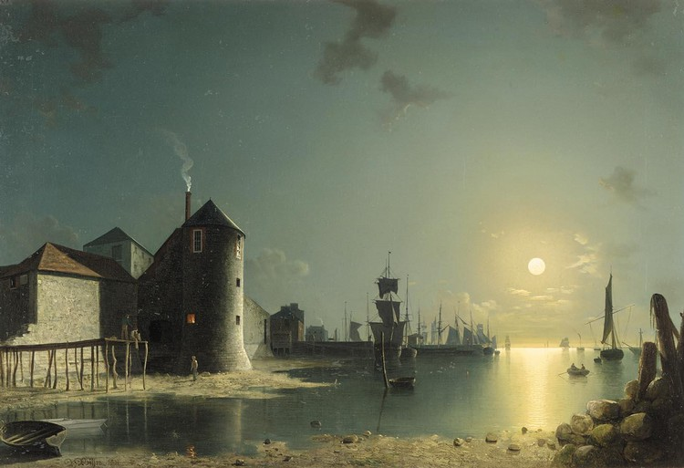 HENRY PETHER 1828-1865 A VIEW OF SOUTHAMPTON HARBOUR BY MOONLIGHT, WITH BUILDINGS AND SHIPYARDS