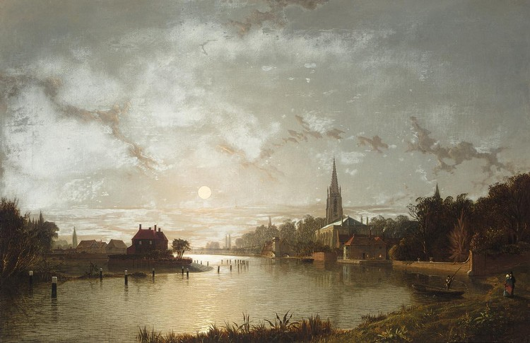 HENRY PETHER 1828-1865 VIEW OF MARLOW FROM THE THAMES BY MOONLIGHT