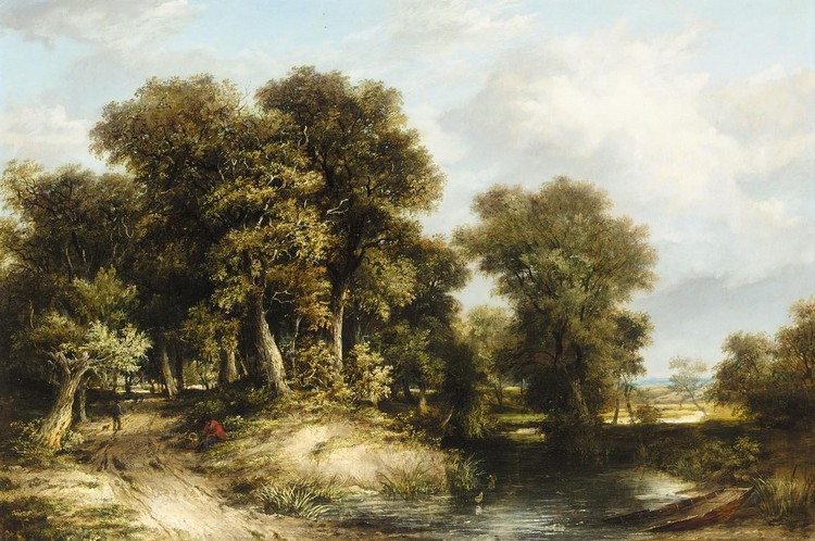 JAMES STARK 1794-1859 A WOODED RIVER LANDSCAPE