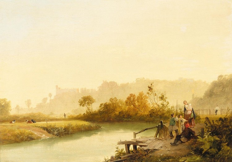 JAMES BAKER PYNE 1800-1870 VIEW OF ARUNDEL CASTLE FROM THE RIVER ARUN