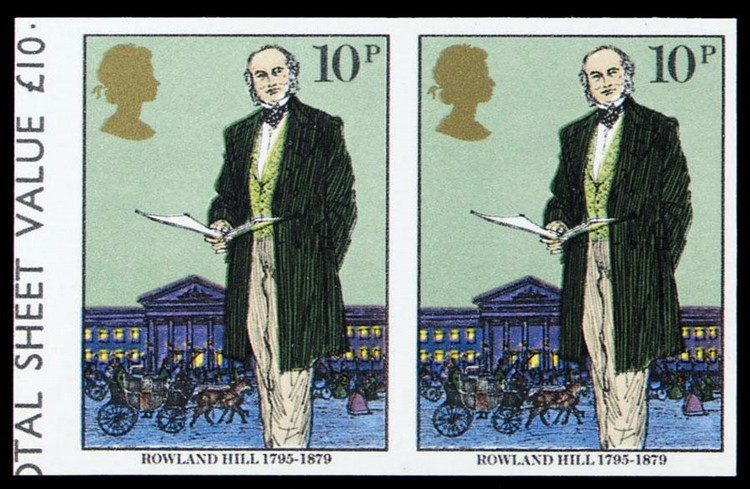 c - 1979 DEATH CENTENARY OF SIR ROWLAND HILL 10P. IMPERFORATE, S.G.1095A, EC F733IMA,