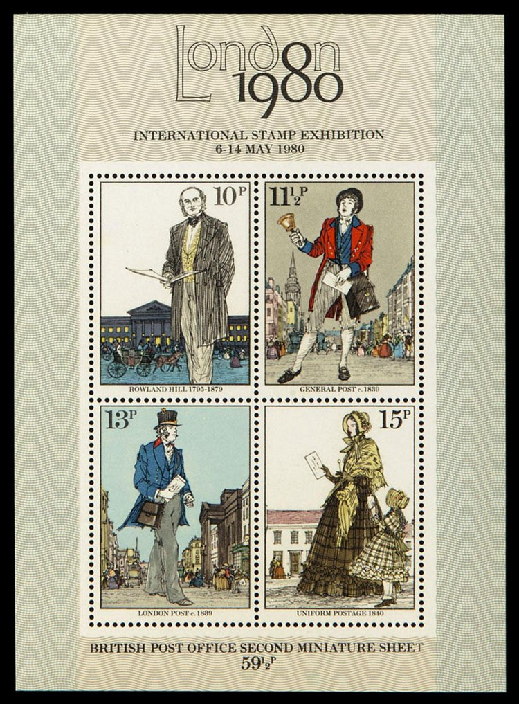 c - 1979 DEATH CENTENARY OF SIR ROWLAND HILL MINIATURE SHEET BROWN-OCHRE, MYRTLE-GREEN AND GOLD OMITTED, S.G.MS1099D, EC F750MCH,