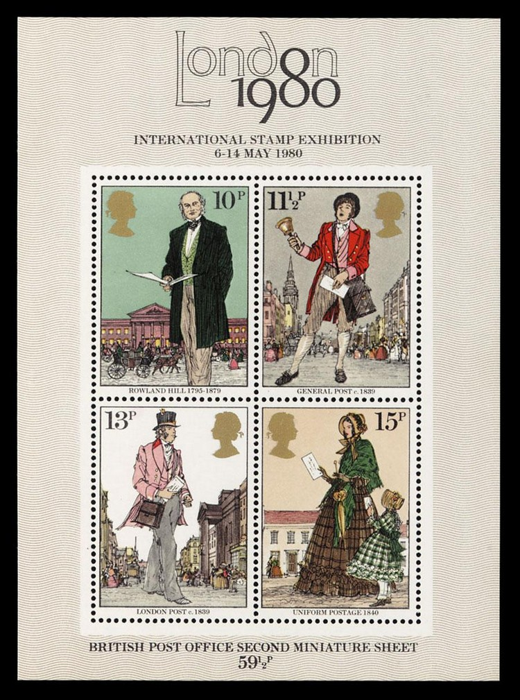 c - 1979 DEATH CENTENARY OF SIR ROWLAND HILL MINIATURE SHEET BRIGHT BLUE OMITTED, S.G.MS1099E, EC F750MCC,