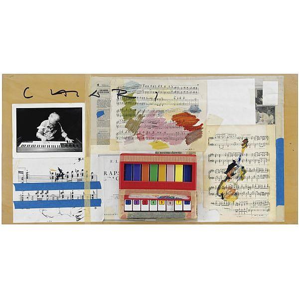 - Giuseppe Chiari , Senza titolo   collage, acquerelli e pianola applicata su tavola