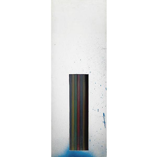 - Renato Mambor , n. 1936   I colori della tenda smalto e plastica su tavola