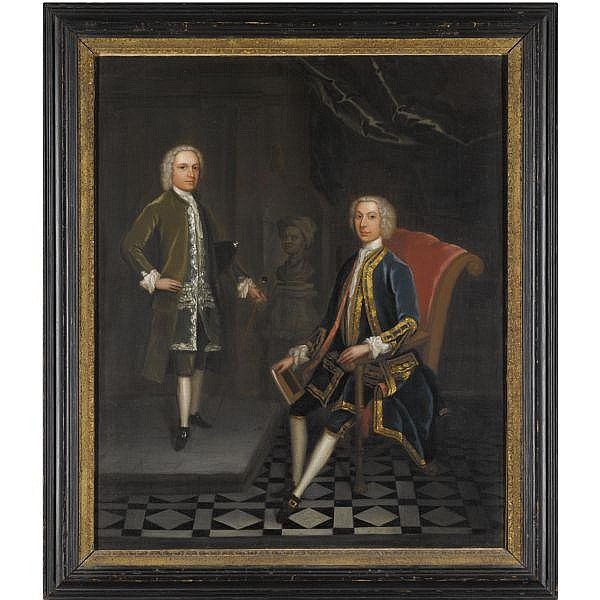 Charles Philips , London 1708 - 1747 Portrait of Two Gentlemen oil on canvas, in a British Eighteenth-Century part gilt frame