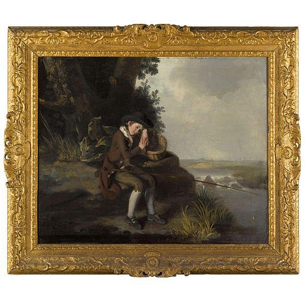 Henry Walton , 1746 - 1813 The Young Angler oil on canvas, in a British Baroque carved and gilded frame