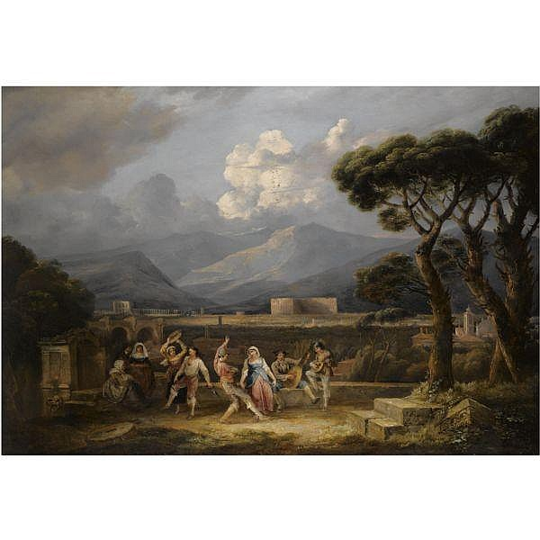 - Thomas Barker of Bath , 1769 - 1847 The Saltarello, with a view of the Colosseum, Rome oil on canvas, unframed