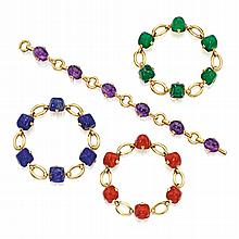 FOUR 18 KARAT GOLD AND COLORED STONE BRACELETS, MARZO, FRANCE