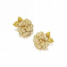 PAIR OF 18 KARAT GOLD, DIAMOND AND COLORED DIAMOND CLIP-BROOCHES, VAN CLEEF & ARPELS