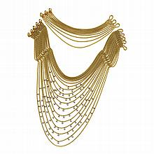 18 KARAT TWO-COLOR GOLD AND DIAMOND 'DRAPERIE' NECKLACE AND BRACELET, CARTIER