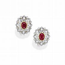 PAIR OF 18 KARAT TWO-COLOR GOLD, RUBY AND DIAMOND EARCLIPS, BUCCELLATI
