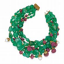 18 KARAT GOLD, EMERALD, RUBY, CULTURED PEARL AND DIAMOND TORSADE NECKLACE, DAVID WEBB