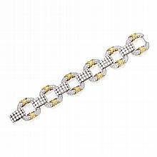 PLATINUM, GOLD AND DIAMOND 'COOPER' BRACELET, SCHLUMBERGER FOR TIFFANY & CO.