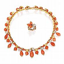18 KARAT TWO-COLOR GOLD, CORAL AND DIAMOND NECKLACE AND RING, SCHLUMBERGER, FRANCE