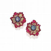 PAIR OF 18 KARAT GOLD, CULTURED PEARL, DIAMOND AND RUBY EARCLIPS