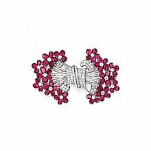 PLATINUM, RUBY AND DIAMOND DOUBLE CLIP-BROOCH