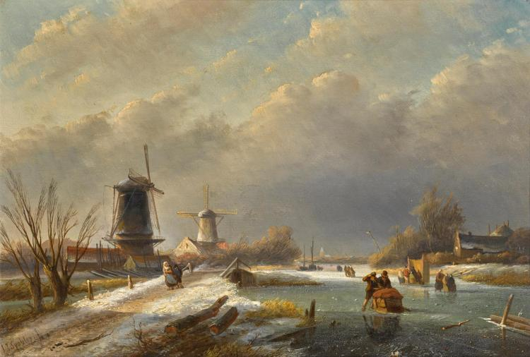 JAN JACOB SPOHLER | Winter Landscape with Windmills