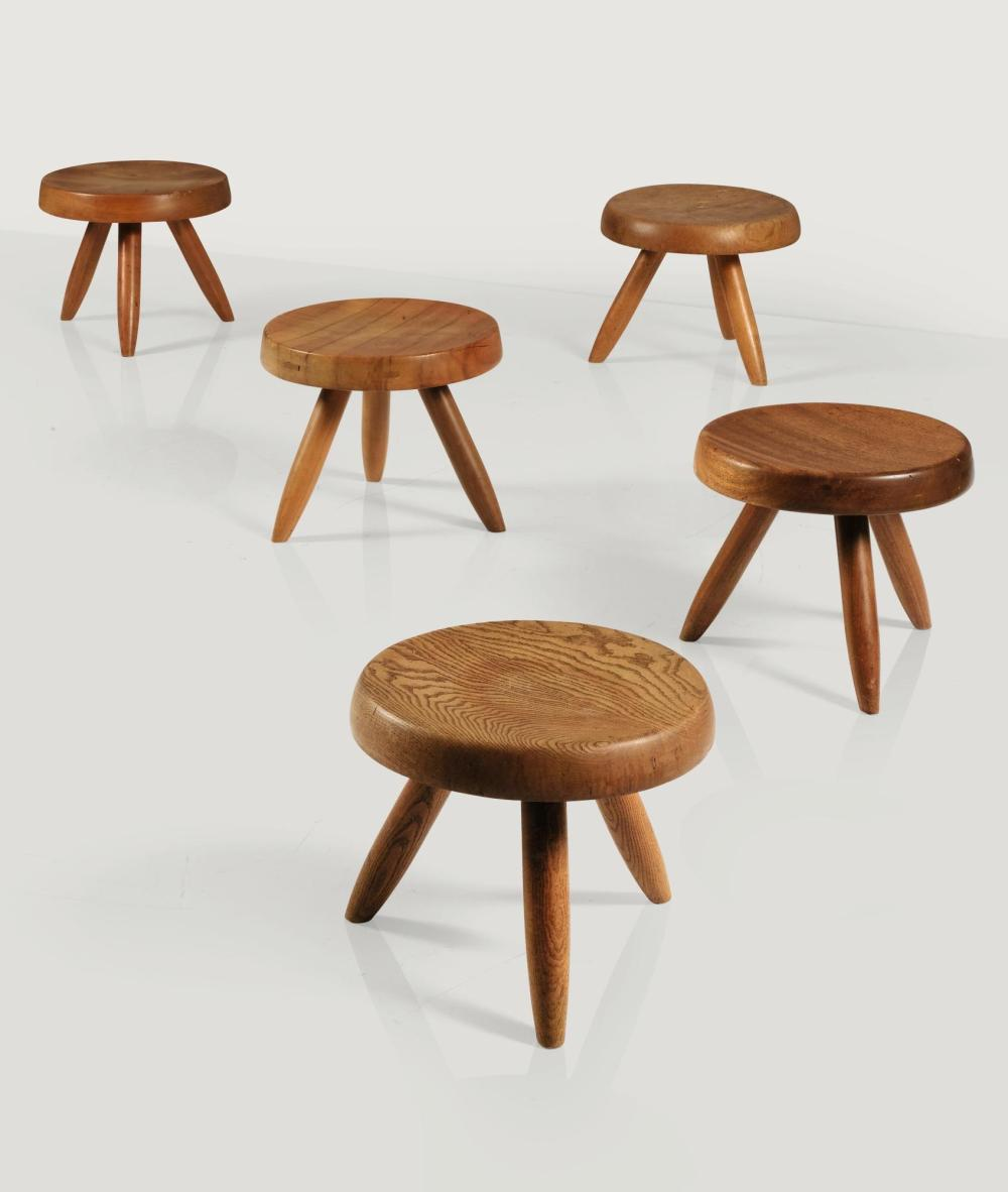 Charlotte Perriand Five Berger Stools Circa 1956