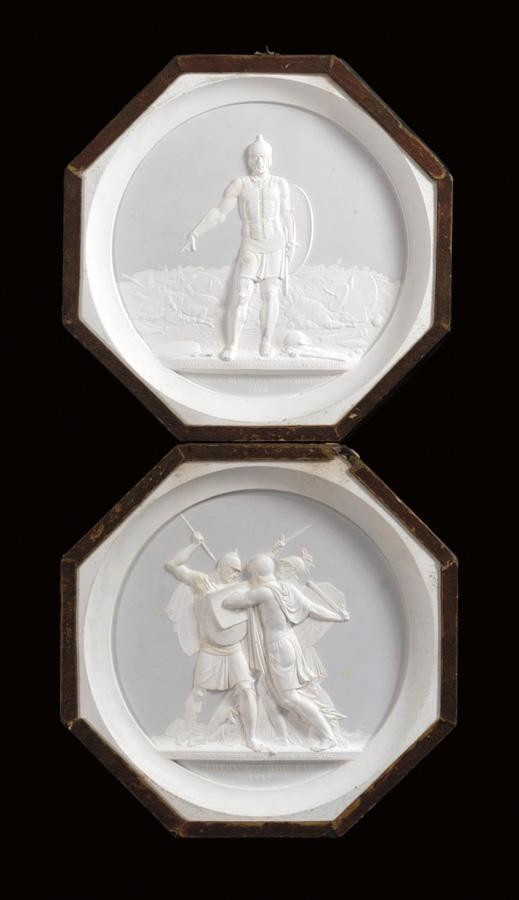 f - COUNT FEODOR PETROVICH TOLSTOY, 1783-1873: TWO PLASTER CAST MEDALLION PLAQUES, 1817, 1820