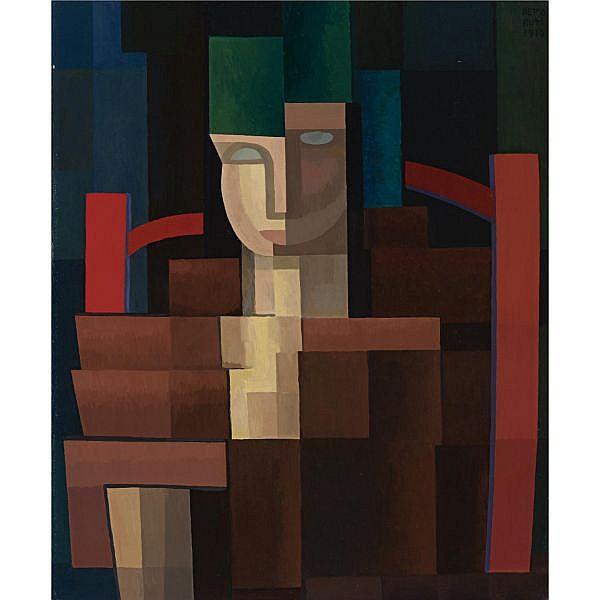 Emilio Pettoruti (1892-1971) , La señorita del sombrero verde