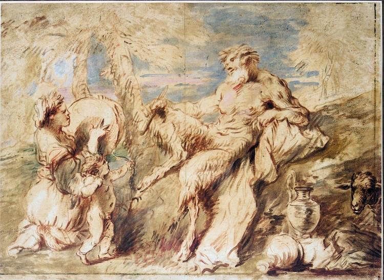 f - GIOVANNI BENEDETTO CASTIGLIONE GENOA 1609 - 1664 MANTUA A SATYR AND A BACCHANTE WITH CUPID IN