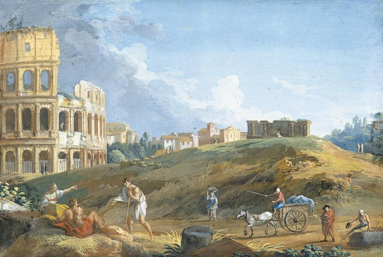 PROPERTY FROM A PRIVATE COLLECTION GIOVANNI BATTISTA BUSIRI ROME 1698 - 1757 VIEW OF THE COLOSSEUM