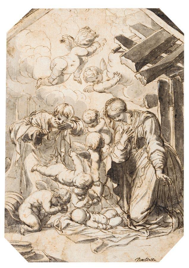 PIERRE BRÉBIETTE MANTES-LA-JOLIE 1598 - 1650 PARIS THE NATIVITY WITH PUTTI ADORING THE CHRIST