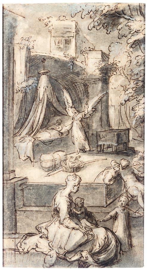 f - KAREL VAN MANDER THE ELDER MEULEBEKE NEAR COURTRAI 1548 - 1606 AMSTERDAM THE ANGEL APPEARING