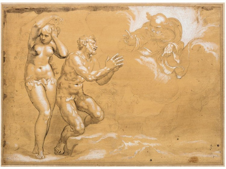 f - PAOLO FARINATI VERONA 1524 - 1606 ADAM AND EVE CAST OUT OF THE GARDEN OF EDEN