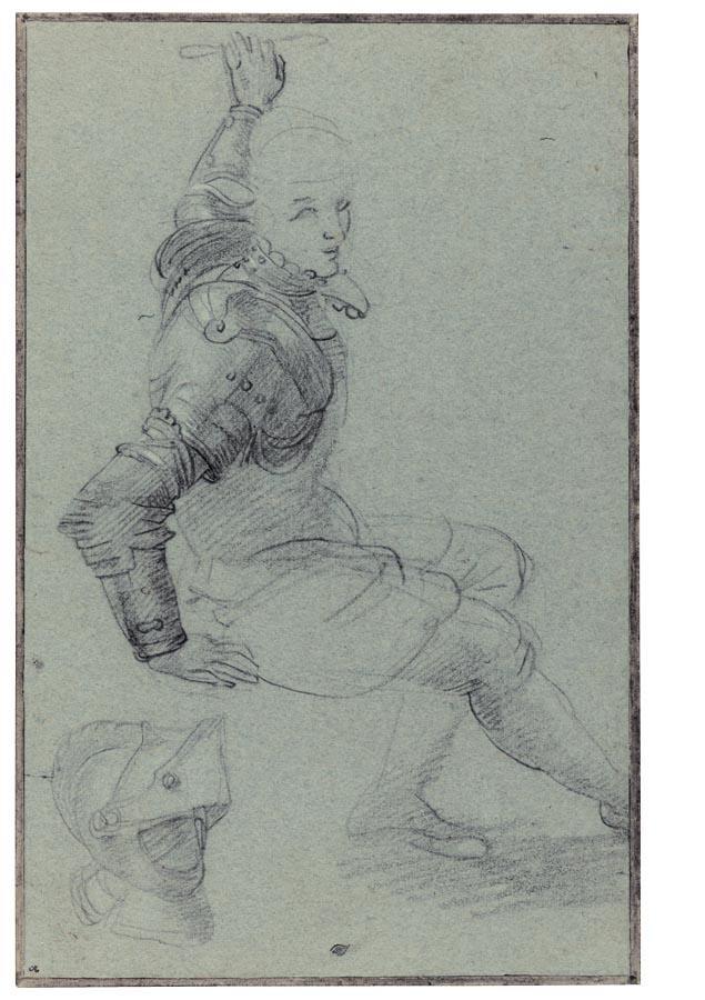 f - FEDERICO BAROCCI URBINO CIRCA 1535 - 1612 SEATED MAN IN ARMOUR WITH A HELMET